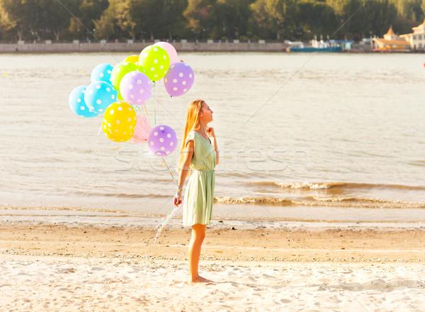 女性 ビーチ 水玉模様 風船 幸せ ストックフォト © dashapetrenko