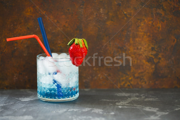 Cocktail Blue lagoon on the dark background  Stock photo © dashapetrenko