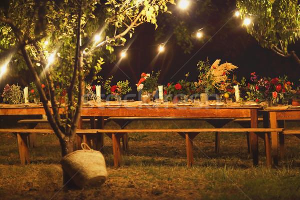 Előkészített asztal rusztikus szabadtér vacsora éjszaka Stock fotó © dashapetrenko