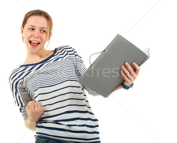 Tiener schoolmeisje leerboek geïsoleerd witte meisje Stockfoto © dashapetrenko