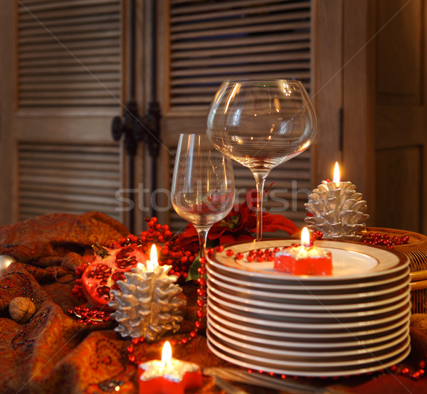 Christmas table preparations Stock photo © dashapetrenko