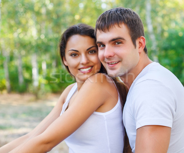 Portrait of a happy couple laughing at camera Stock photo © dashapetrenko