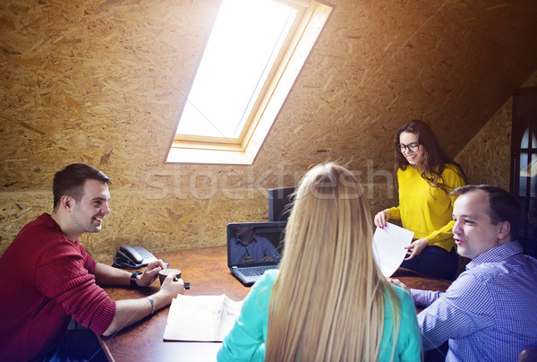 Stock photo: Business team at work with financial reports