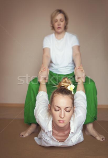 Young woman having massage treatment Stock photo © dashapetrenko