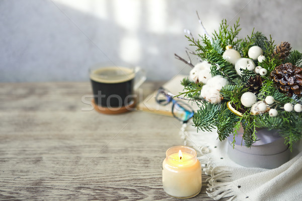 Christmas composition with balls, pine cones, fir tree toys and  Stock photo © dashapetrenko