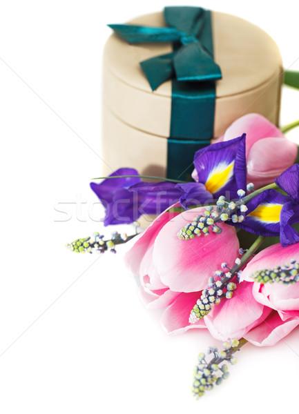 Bunch of tulips with gift box  Stock photo © dashapetrenko