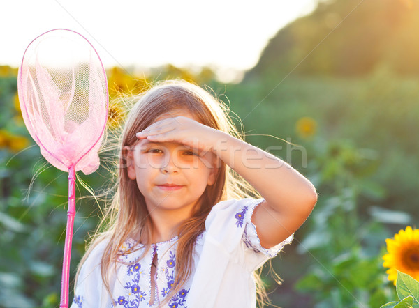 Cheerful little girl playing in a field with insect net Stock photo © dashapetrenko