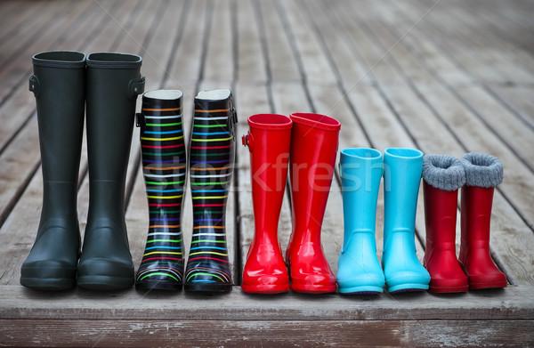 öt színes eső csizma család élet Stock fotó © dashapetrenko