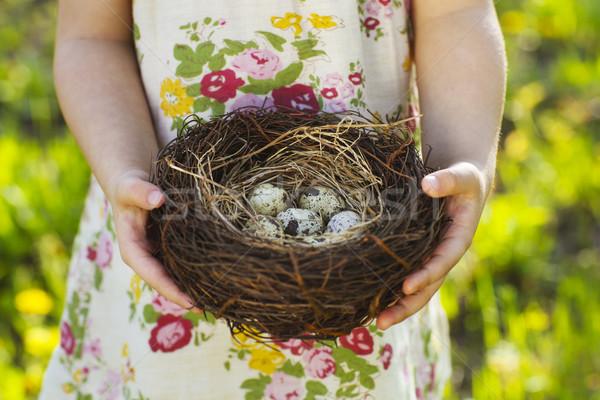 Bambina easter eggs nido Pasqua Foto d'archivio © dashapetrenko
