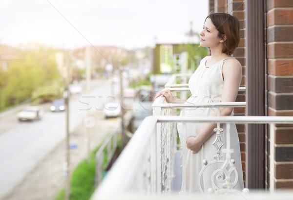 Güzel hamile kadın balkon mutlu vücut sağlık Stok fotoğraf © dashapetrenko
