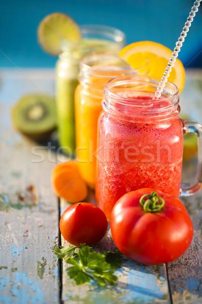 üç gözlük sebze meyve suyu gıda meyve Stok fotoğraf © dashapetrenko