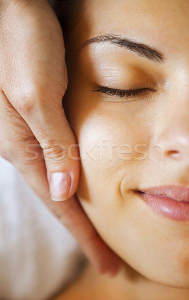 Portre genç kadın terapi yüz masaj Stok fotoğraf © dashapetrenko