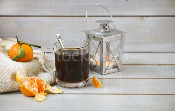 Siyah kahve mandalina ışık ahşap natürmort Stok fotoğraf © dashapetrenko