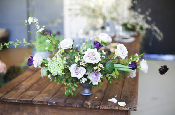 Bouquet of pink flowers on a table Stock photo © dashapetrenko