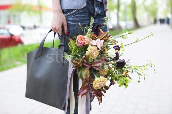 Jeunes belle heureux femme marche rue Photo stock © dashapetrenko