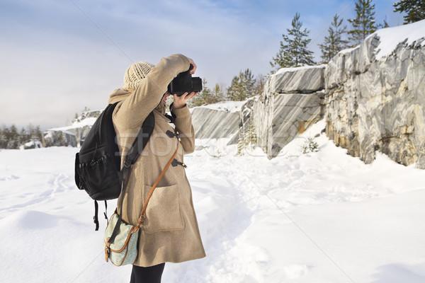 Profesional femenino película fotógrafo Rusia mármol Foto stock © dashapetrenko