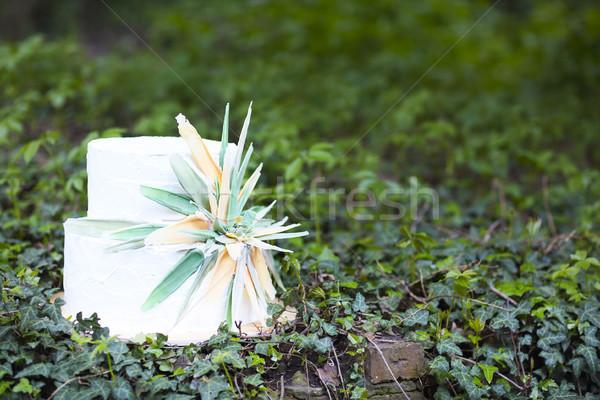 Beautiful wedding cake with flower  Stock photo © dashapetrenko
