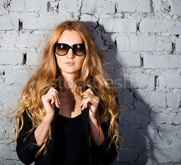ストックフォト: 美少女 · ビッグ · 黒 · 眼鏡 · 肖像