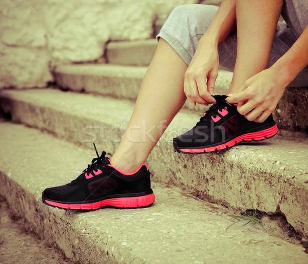 Vrouw loopschoenen klaar jogging atleet meisje Stockfoto © dashapetrenko
