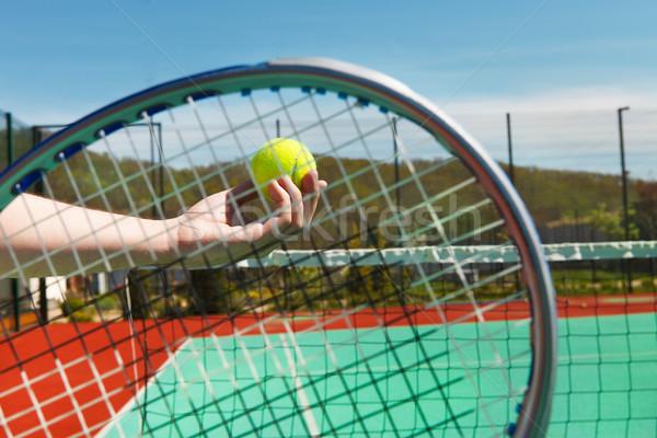 Teniszező teniszlabda kéz sport test nyár Stock fotó © dashapetrenko