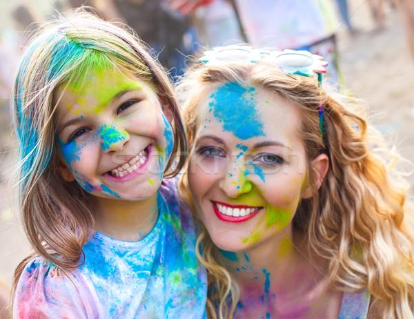 Szczęśliwy matka mały córka festiwalu portret Zdjęcia stock © dashapetrenko