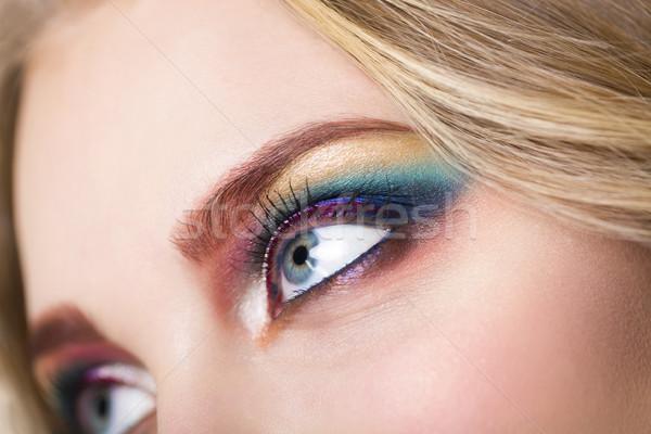 Portré gyönyörű fiatal szőke modell fényes Stock fotó © dashapetrenko