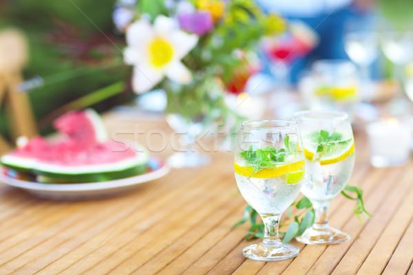 Doğal limonata tablo iki gözlük yaz Stok fotoğraf © dashapetrenko