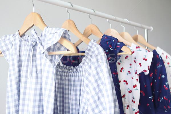 Variety of casual dresses on hangers  Stock photo © dashapetrenko