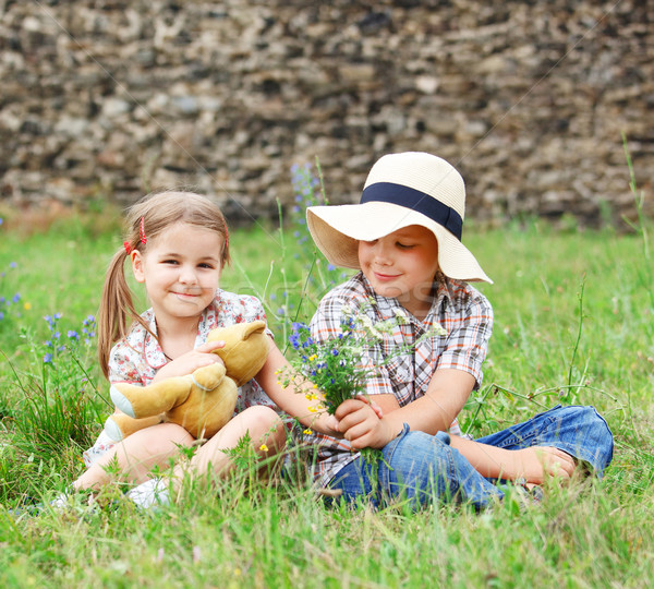 Stock photo: Little boy gives flowers to the little girl