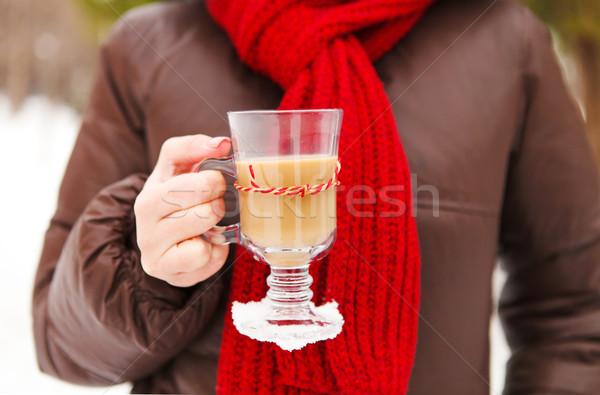 Woman holding cups of hot chocolate outdoors Stock photo © dashapetrenko