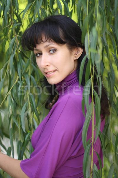 Fiatal nő fűzfa zöld nő levelek portré Stock fotó © dashapetrenko