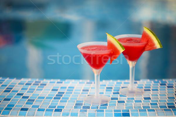 Stock fotó: Szemüveg · görögdinnye · koktél · szeletek · medence · természet