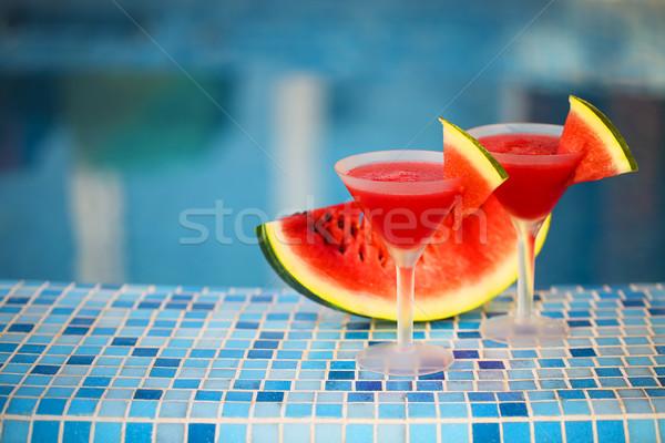 Stock fotó: Szemüveg · görögdinnye · koktél · medence · szeletek · nyár