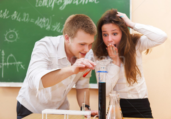 Students working in chemistry laboratory  Stock photo © dashapetrenko