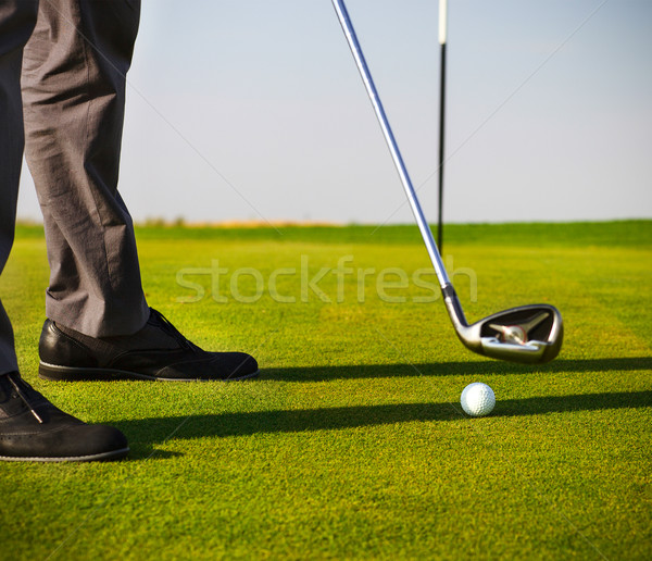 Homme golfeur accent balle de golf mise au point sélective golf Photo stock © dashapetrenko