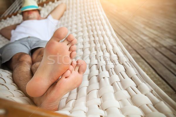 человека Hat гамак лет день ленивый Сток-фото © dashapetrenko