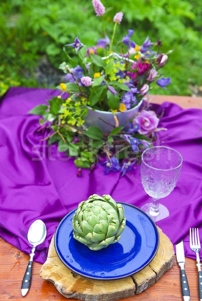 Wedding table setting decorated in rustic style Stock photo © dashapetrenko