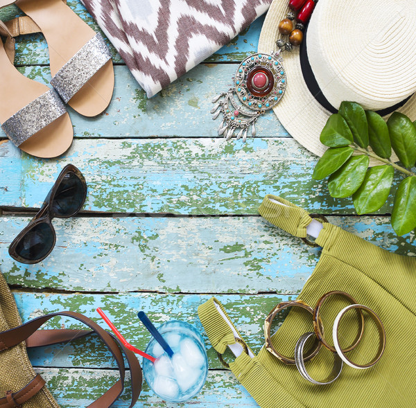 Stock photo: Young woman accessories. Summer travel and vacation concept
