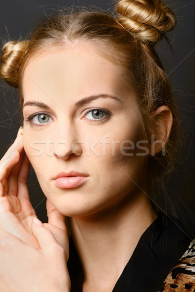 Portret dziewczyna zielone oczy blond kobieta Zdjęcia stock © dashapetrenko
