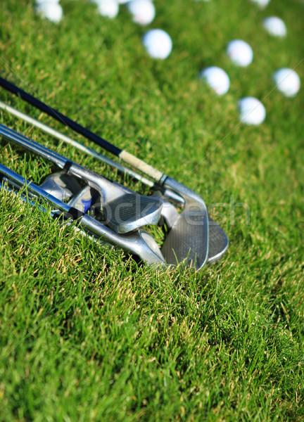 Golfütők golf golyók zöld fű fű nyár Stock fotó © dashapetrenko