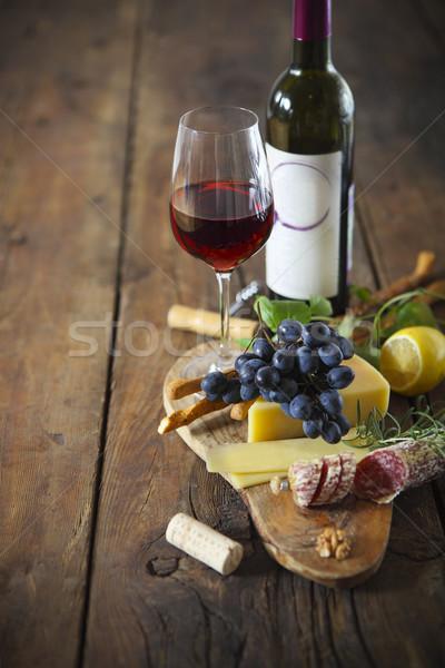 のイタリア料理 材料 木製 赤ワイン ワイン ガラス ストックフォト © dashapetrenko