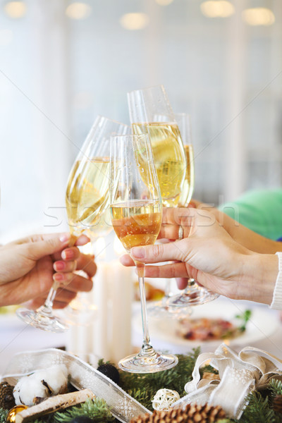 Group of friends toasting with champagne while having Christmas  Stock photo © dashapetrenko