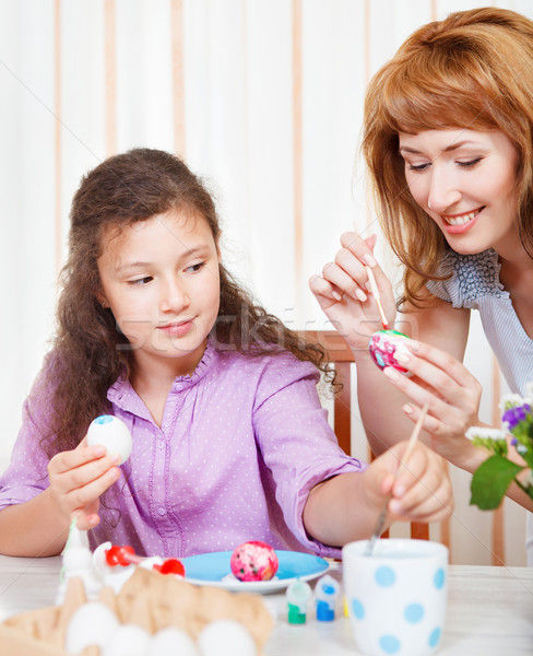 Stock photo: Mother and her little daughter painting on Easter eggs