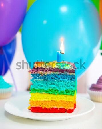 Foto stock: Arco · iris · torta · globos · decorado · velas