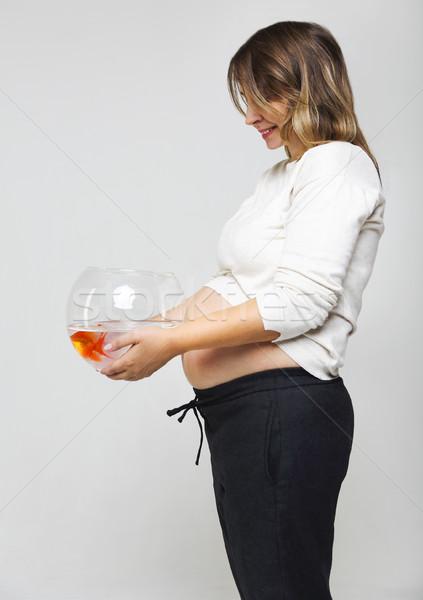 幸せ 妊婦 金魚 手 ストックフォト © dashapetrenko