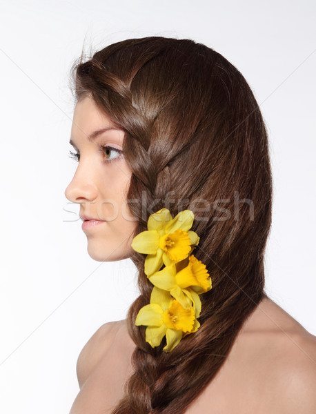 Beauty young girl with flowers in her hair Stock photo © dashapetrenko