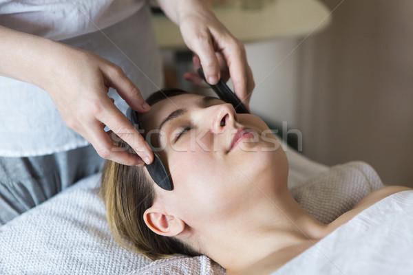 Photo stock: Jeune · femme · visage · traitement · beauté · clinique · asian