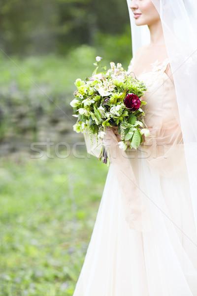 Hermosa novia ramo de la boda jóvenes boda Foto stock © dashapetrenko