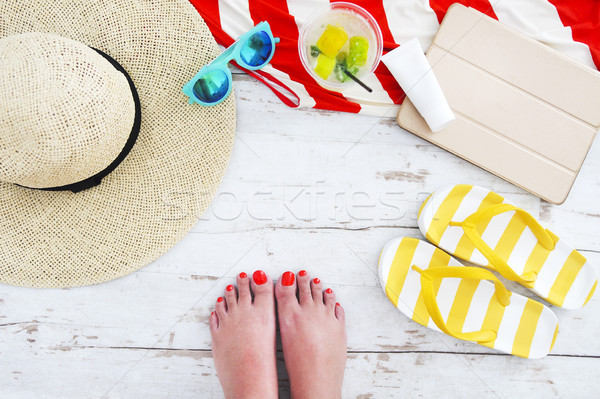 Stock photo: Beach accessories on white wooden background