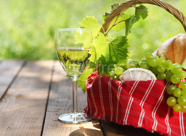 Cheese, grapes, bread and two glasses of the white wine  Stock photo © dashapetrenko